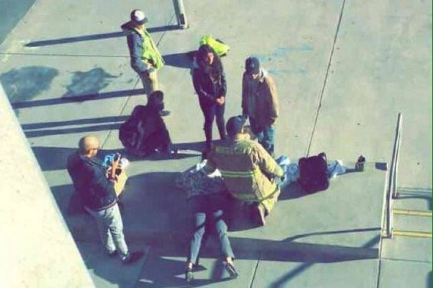 A Twitter image said to show first responders at the scene.
