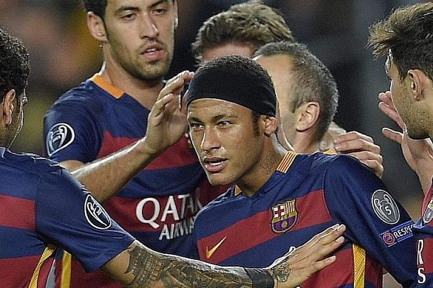 Neymar celebrating during the 3-0 win over Bate Borisov on Wednesday. Barcelona are leading Group E by five points.