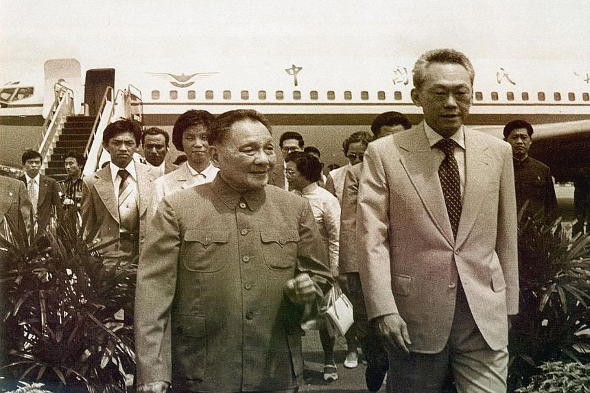 Then Prime Minister Lee Kuan Yew welcoming Chinese patriarch Deng Xiaoping to Singapore in November 1978.