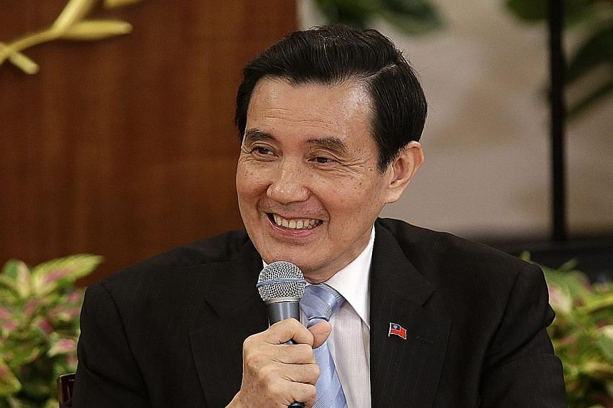 "Taiwanese President Ma Ying-jeou at a news briefing in Taipei yesterday. The President said ""it is my duty to build a bridge for the two sides""."