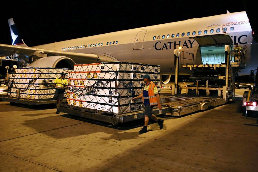 Polystyrene boxes filled with live rock lobsters sit on a hydraulic lift to be loaded into a Cathay Pacific Airways aircraft bound for Hong Kong at Perth International Airport.