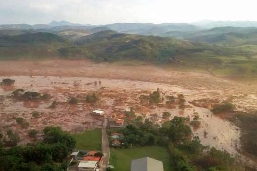 A general view of the dam that burst at a mining waste site in Brazil on Nov 5, 2015.