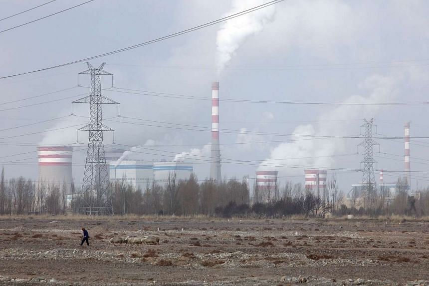 A herder leads sheep past a coal fired power plant in Jiuquan, Gansu province, China.