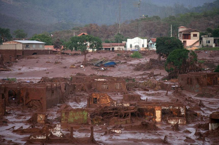 The village of Bento Rodrigues lies covered in mud after a retaining wall for an industrial waste dump collapsed in Minas Gerais, Brazil, on Nov 6, 2015.
