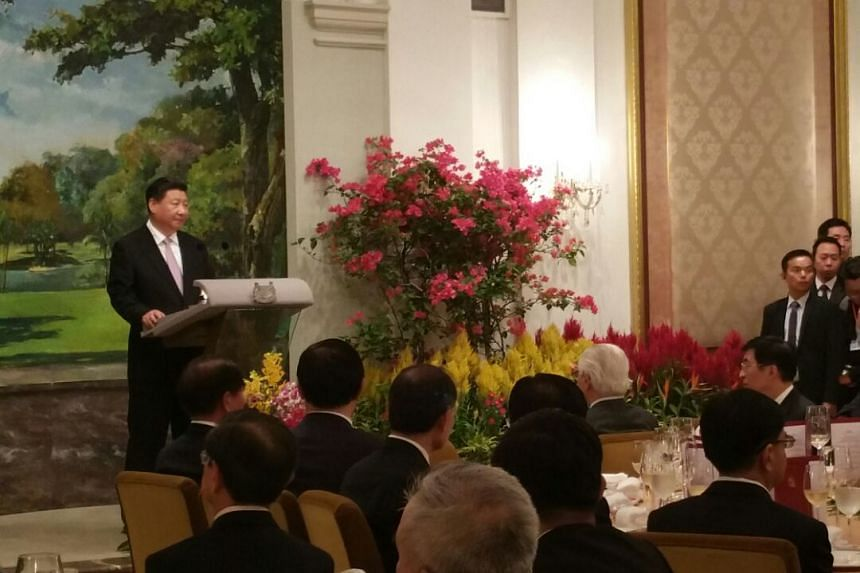 Chinese President Xi Jinping giving a speech at the state banquet held in his honour at the Istana on Nov 6, 2015.