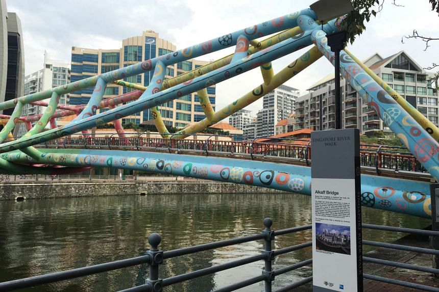 The tongkangshaped Alkaff Bridge at Robertson Quay is one of the markers on the revamped Singapore River Walk.