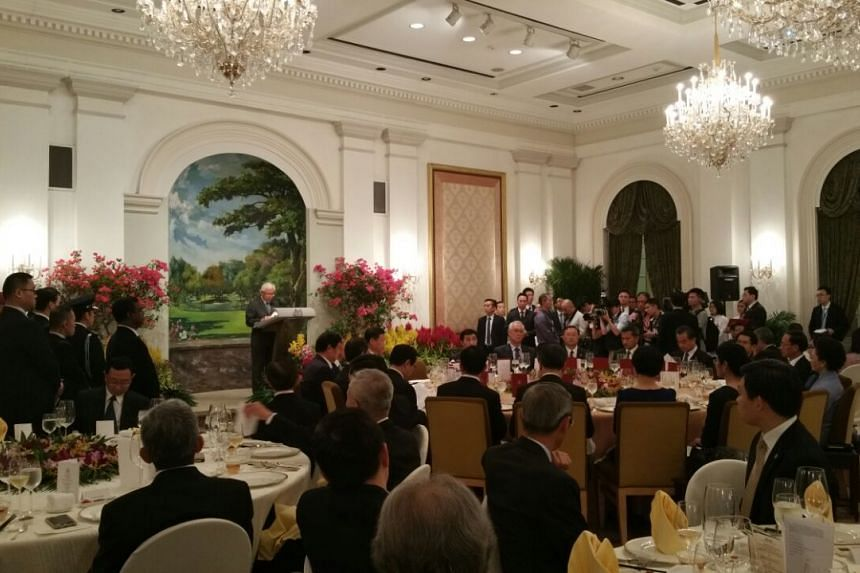 President Tony Tan speaking at the State Banquet with Chinese President Xi Jinping.