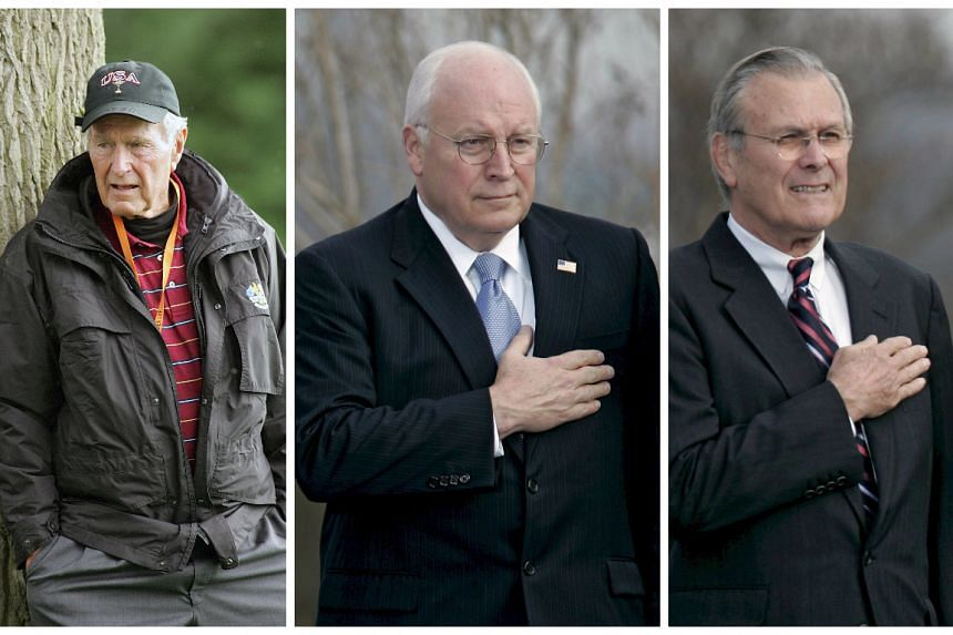 Former US president George H.W. Bush (left) slams Dick Cheney (centre) and Donald Rumsfeld in a new book.