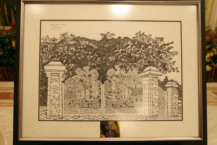 Singapore's gift to China: A drawing of the Singapore Botanic Gardens by Pathlight student Glenn Phua.