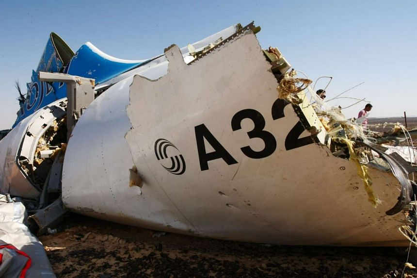 The wreckage of a Russian airliner at a mountainous area of Egypt's Sinai Peninsula on Nov 1, 2015.