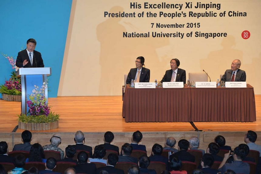 Mr Xi delivering his lecture on Saturday.