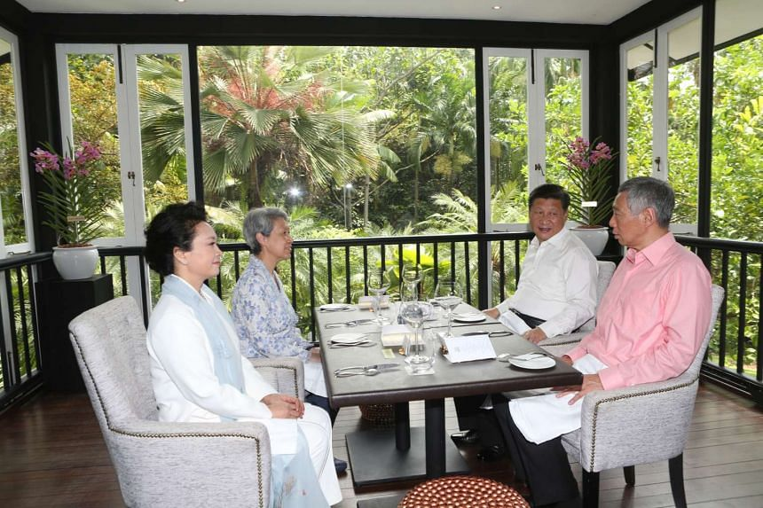 PM Lee and his wife Ho Ching hosting Mr Xi and his wife to lunch.