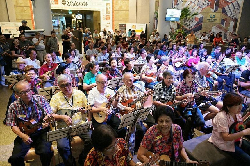 A ukulele jam at the Concourse hosted by the UkeBoomers opened the Esplanade's annual festival, A Date With Friends, on Thursday. The festival for senior citizens, now in its 12th year, aims to provide senior artists or hobbyists with a platform to s