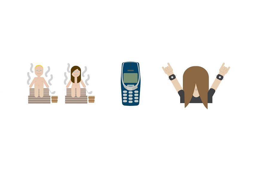 Finland's government has billed the use of national symbols for themed emojis as a world first. The first three emojis of the full set of 30 are of (from left) a couple in a sauna, a Nokia phone and a heavy metal music fan.