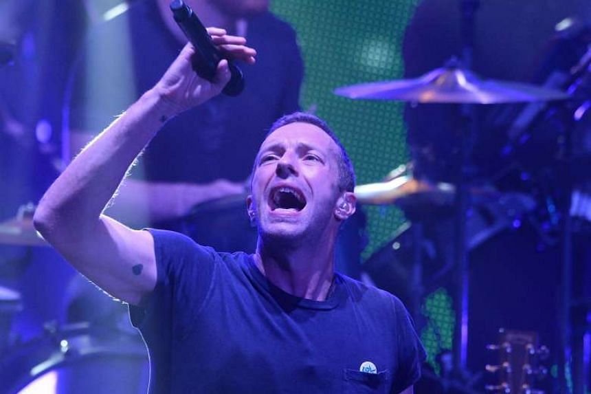 Vocalist Chris Martin of British rock band Coldplay.
