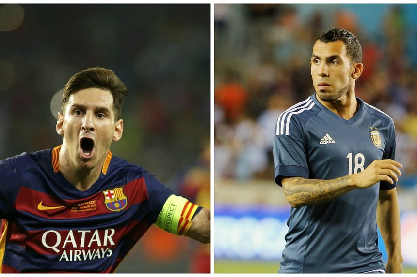Argentina's Lionel Messi (left) and Carlos Tevez are in the running for goal of the year.