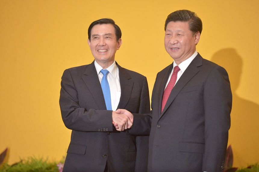 China's President Xi Jinping and Taiwan's President Ma Ying-jeou face a gaggle of media before their closed-door talks. ST PHOTO: KUA CHEE SIONG