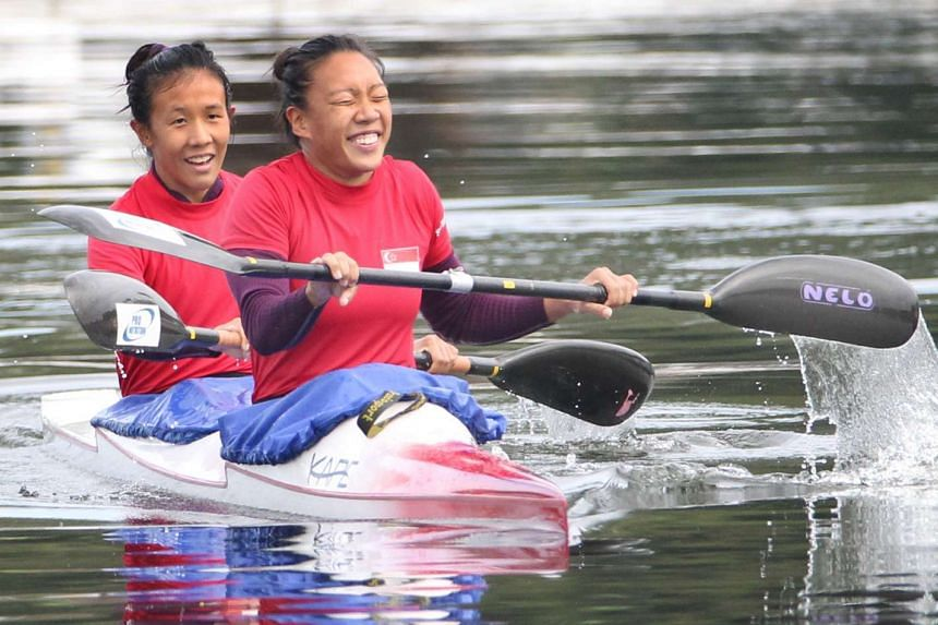 Singapore canoeists Suzanne Seah and Stephenie Chen (right) during the SEA Games in Myanmar in 2013.
