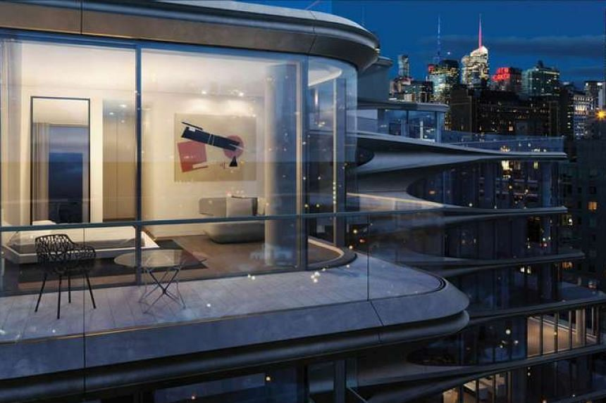 The terrace in the Miami project and another in the New York project (above right), both by Zaha Hadid.