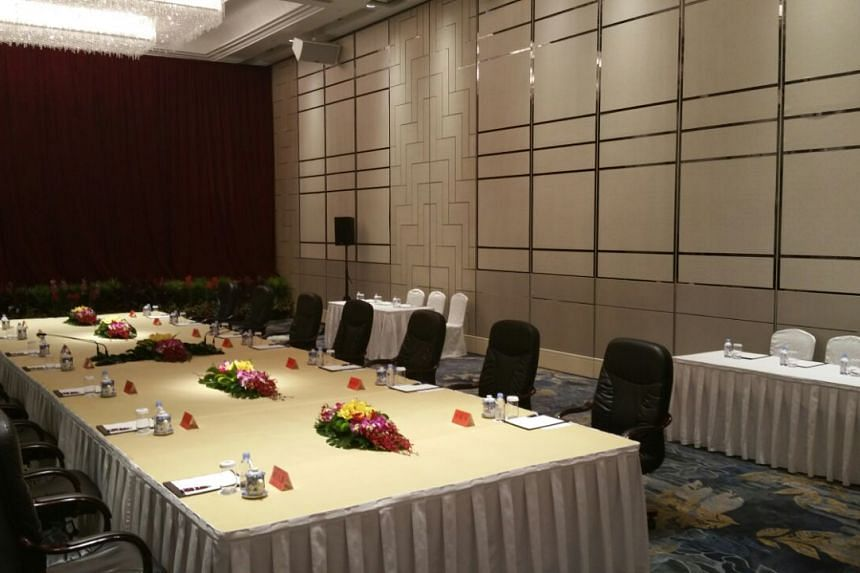 The meeting room at Singapore's Shangri-La Hotel where the Xi-Ma summit will take place on Nov 7, 2015.