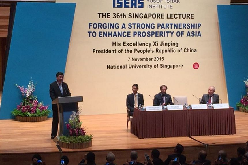 Chinese President Xi Jinping giving his speech at the 36th Singapore Lecture.