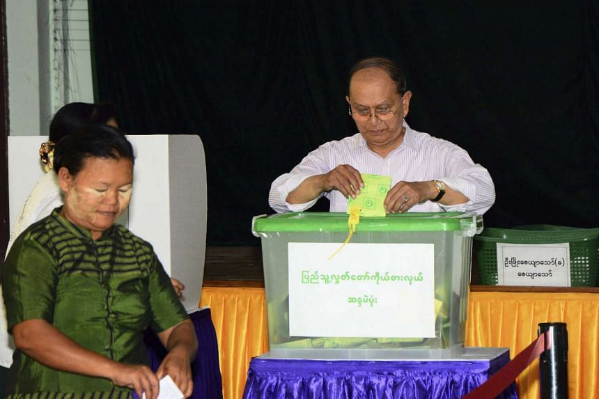 Myanmar President Thein Sein casting his vote at a polling station in Naypyitaw, Myanmar, on Nov 8, 2015.