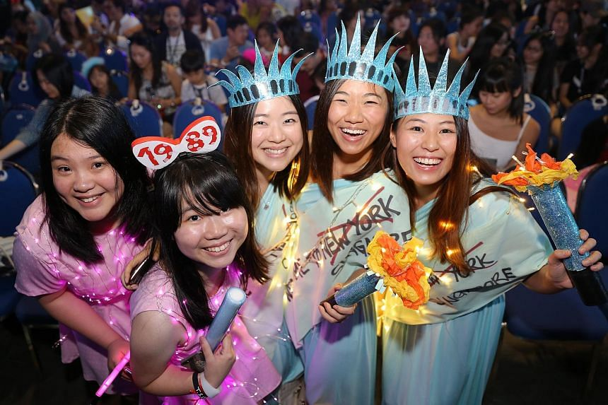 (From left) Taylor Swift fans Sue Lynn Teh, 19, Kimberly Hoon, 19, Jasmine Lim, 26, Denise Tan, 25, and Nicole Aw, 25, dressed up for the 1989 World Tour at the Singapore Indoor Stadium.