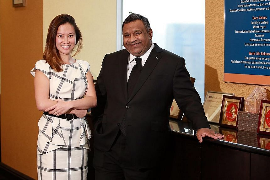 Founder of AsiaLawNetwork.com Cherilyn Tan (left) and Mr Shashi Nathan, who sits on the legal database's board of advisers.