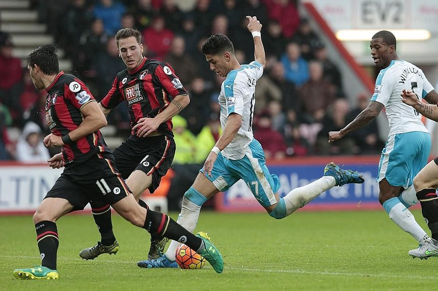 Newcastle United's Ayoze Perez pulling the trigger to score what would turn out to be the winning goal at Bournemouth.