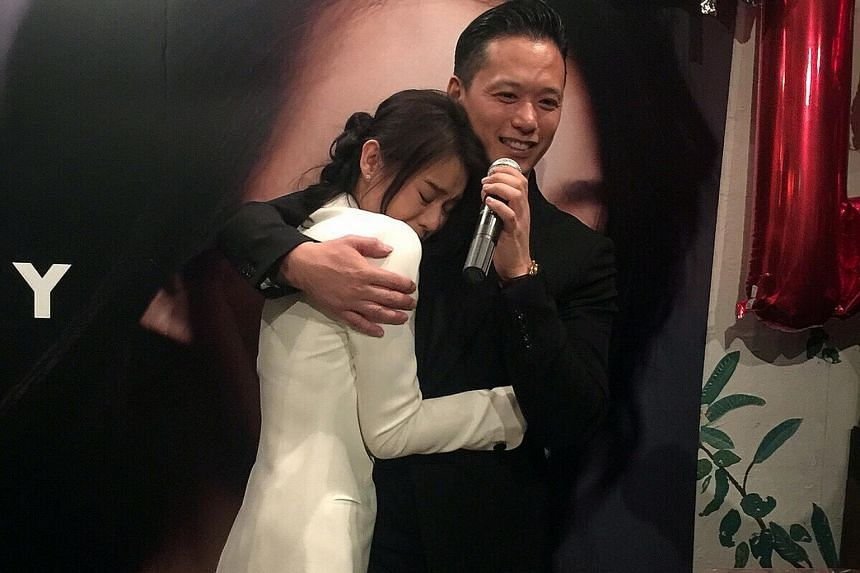 Myolie Wu and Philip Lee at her birthday party.