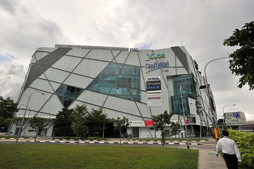 According to the study, mall rents in Tampines are higher than those in Jurong East, like JCube (above). However, Tampines rents are fairly stable while those in Jurong East fluctuated between 2013 and this year as the malls there are considered to b