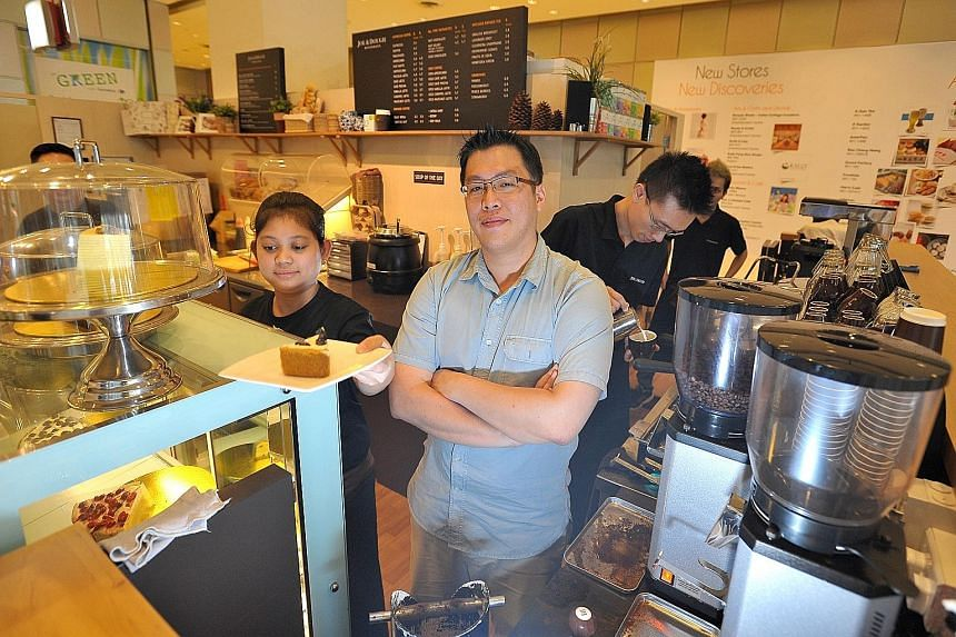 In food services, the sector-specific measure of revenue per square foot went up 5.4 per cent per year over the 2009 to 2014 period, but Mr Damien Koh (above), of cafe chain Joe & Dough, said food and beverage companies are facing more competition on