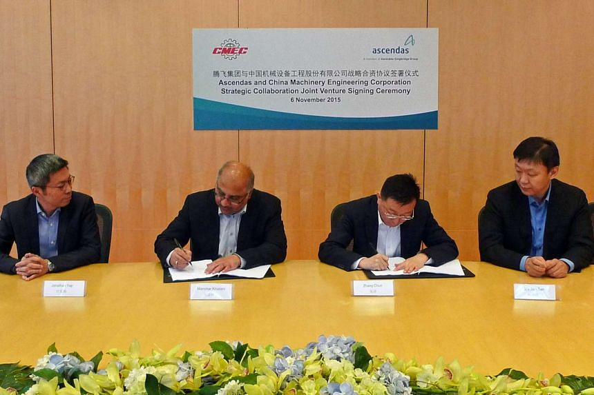 Ascendas Group said that it has signed a joint venture agreement with China Machinery Engineering Corporation to partner in industrial and business park investments and developments across Asia.
