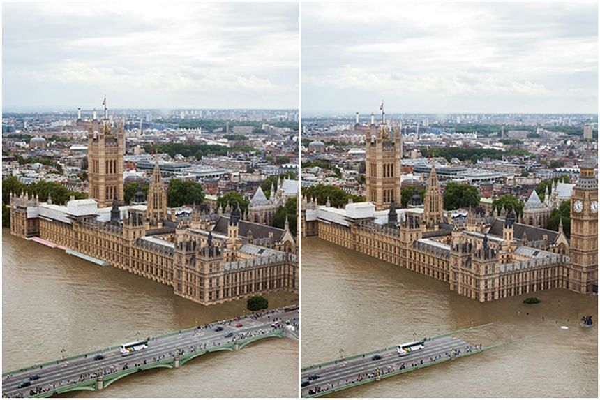 A projected image from Climate Central showing what could happen to London (right) if global temperatures increase by 2 and 4 deg C.