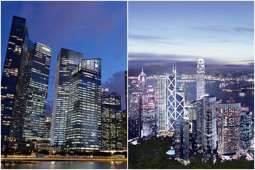 Singapore (left) and Hong Kong (right) have often been compared with each other as they both strive to be the preeminent business hub in Asia, excluding Japan.