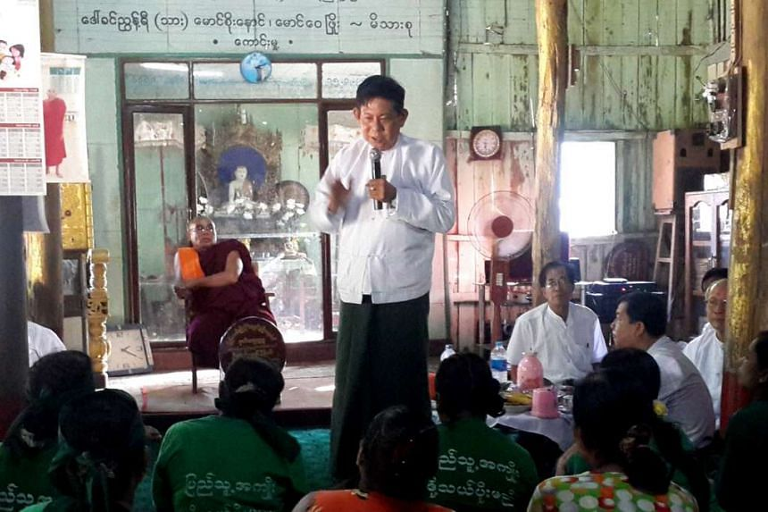 Htay Oo, acting chairman of Myanmar's ruling party, concedes defeat to Aung San Suu Kyi's opposition on Nov 9.