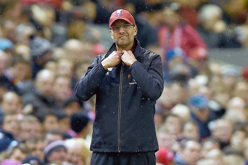 Liverpool's manager Juergen Klopp reacts during the EPL match against Crystal Palace on Sunday.