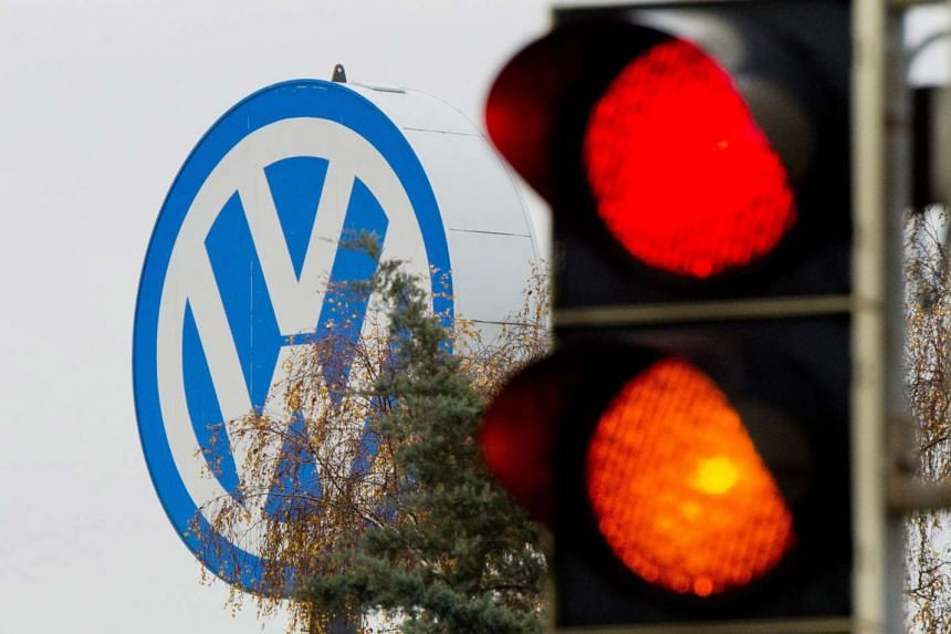 A traffic light next to a Volkswagen factory in Salzgitter, Germany.