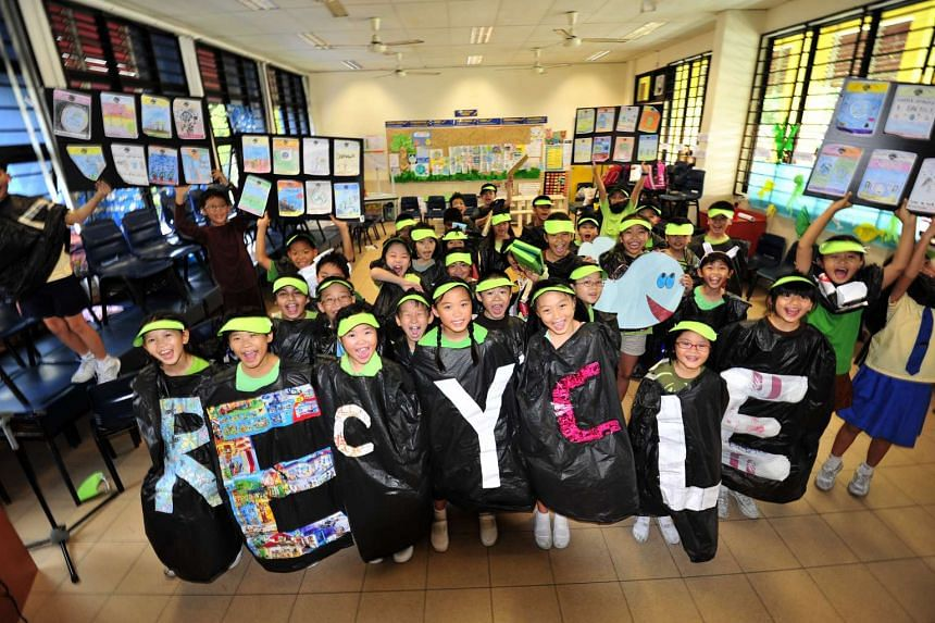 Pupils of Primary 3F of Fairfield Methodist School learnt songs and poems about the Earth, recited a pledge and even made costumes from garbage bags and recycled material.