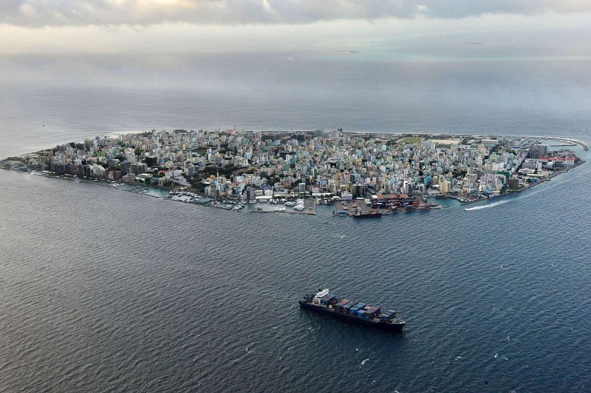 An aerial view of the island of Male, the capital of the Maldives.