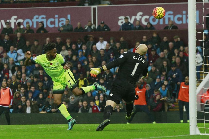 Manchester City's Raheem Sterling aiming to score in a Barclays Premier League match against Aston Villa.