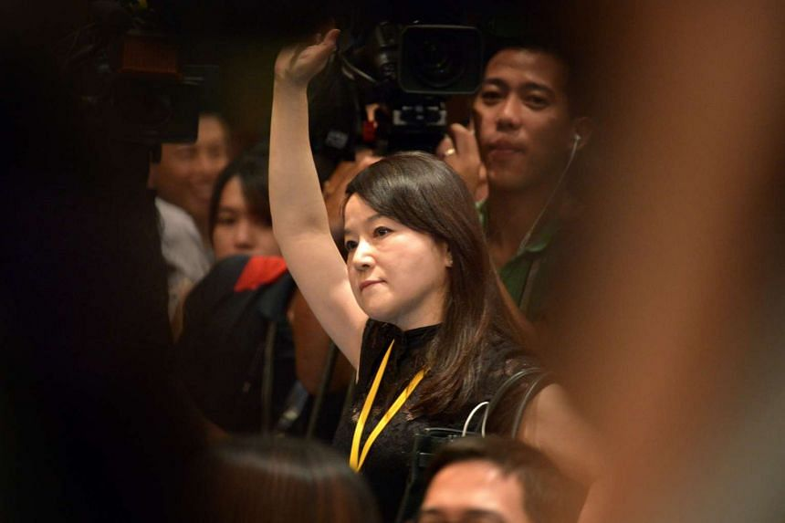 Independent journalist Clara Chou at the press conference after the historic Xi-Ma meeting in Singapore on Nov 7, 2015.