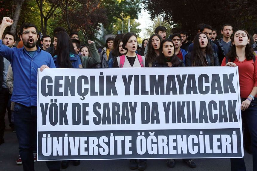 Turkish university students demonstrating against the education policy of the Turkish government in Ankara on Nov 6, 2015.