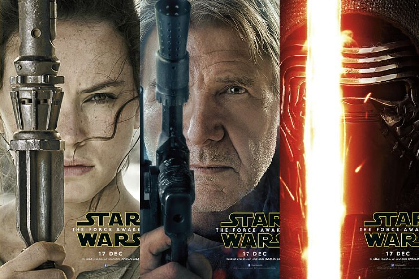 Star Wars: The Force Awakens character posters.