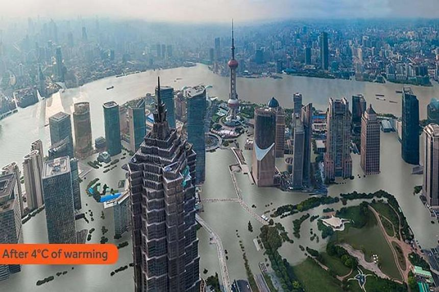 A projected image from Climate Central showing the effects that rising sea levels may have in Shanghai.
