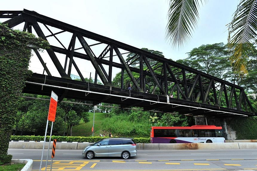 The two steel truss bridges to be conserved are a 45m-long one across Bukit Timah and Dunearn roads (left) and a 60m-long one near the Rail Mall in Upper Bukit Timah Road (below).