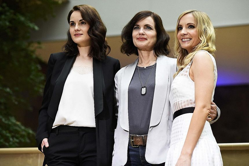 Downton Abbey cast members (from left) Michelle Dockery, Elizabeth McGovern and Joanne Froggatt at a London event for the TV series in August.