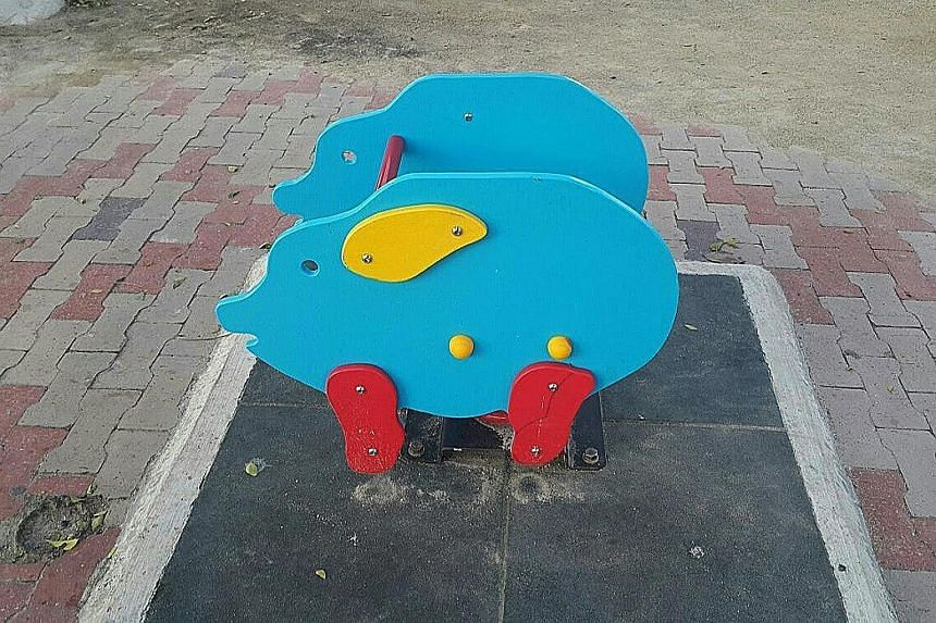 The pig-looking structures (left) at the playground in Esplanade, Penang, were replaced by those with bird designs (right).