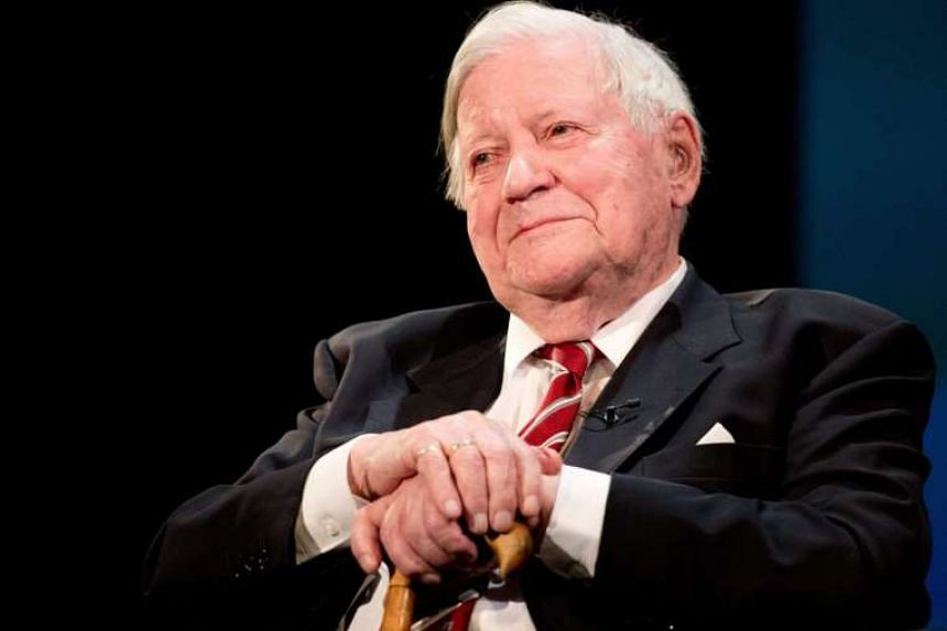 Former German chancellor Helmut Schmidt during his birthday celebration in the Thalia Theatre in Hamburg, Germany on Jan 19, 2014.