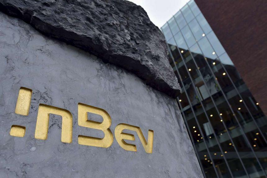 The InBev logo outside brewer Anheuser-Busch InBev's headquarters in Leuven, Belgium, on Nov 10, 2015.